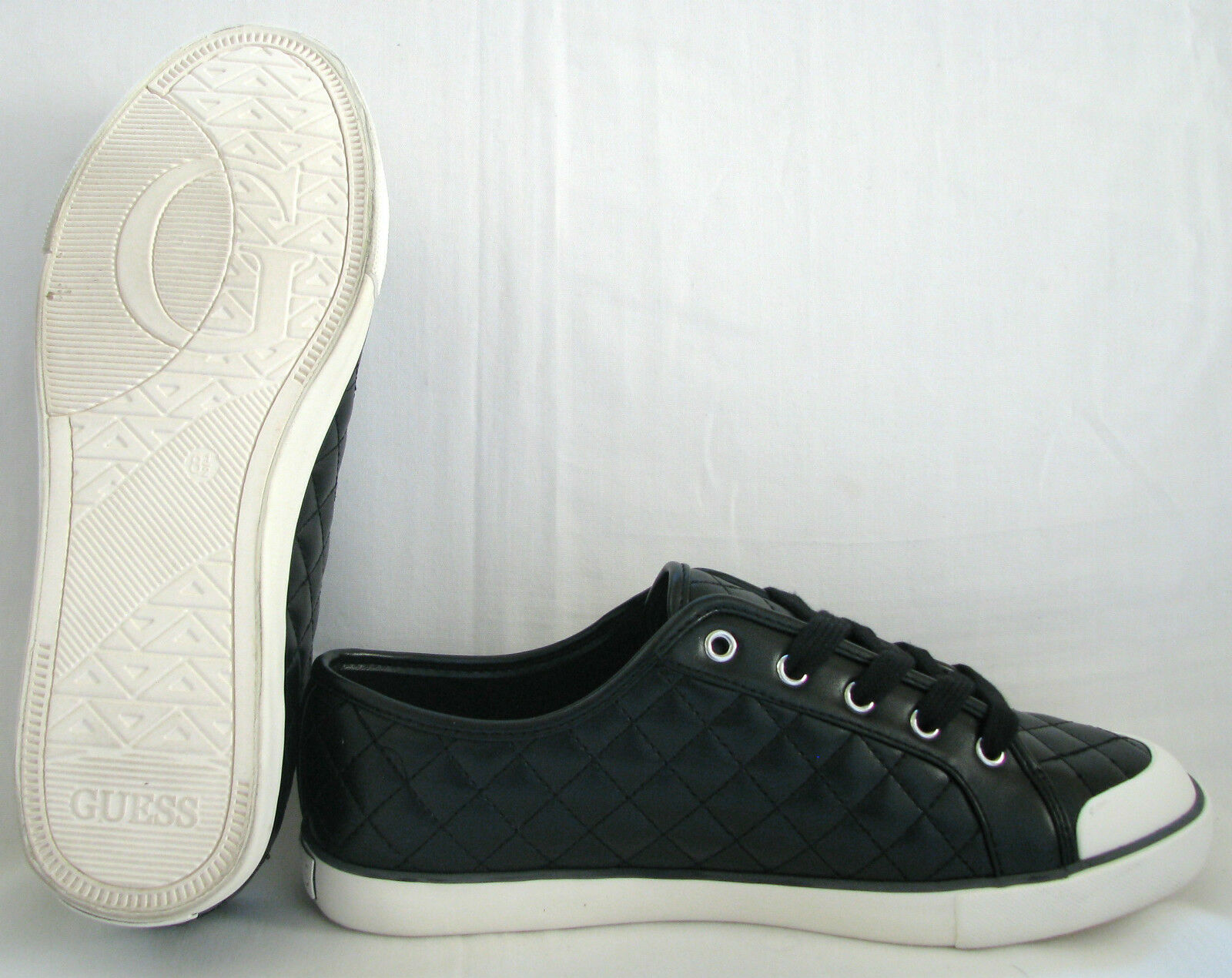 NEW-GUESS TRIM+LOGO BRAXTON BLACK+Weiß CHECKEROT STITCH TRIM+LOGO NEW-GUESS Schuhe SIZE 8.5+BOX f30132