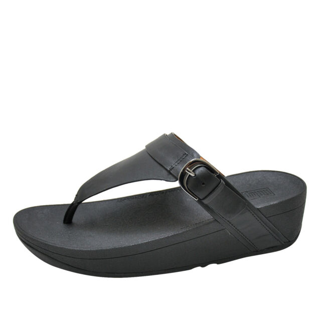 c2f669ff4 FitFlop Womens Sandals Edit Leather Adjustable Toe Thongs Black Size ...