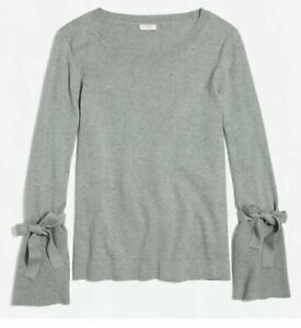 J. Crew Gray Tie Bell Sleeve Sweater Top Small