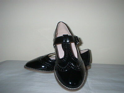 BLACK PATENT BROGUE T BAR BUCKLE FASTEN SCHOOL/CASUAL SHOES TOP QUALITY 13/32
