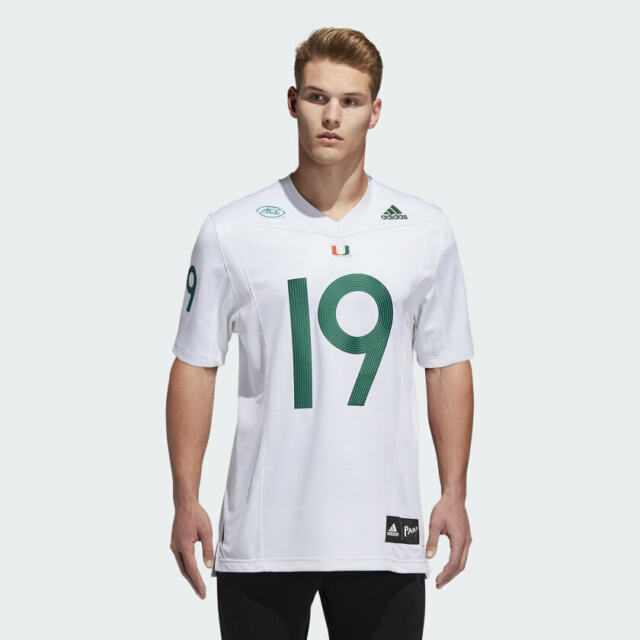 adidas Miami Hurricanes Parley Strategy Football Jersey Mens Size ...