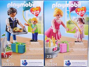 PLAYMOBIL-Play-Give-70334-70333-Pate-Patin-Onkel-Tante-2-Kinder-Geschenke-Torte