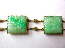 30s Art Deco Jadeite Bracelet - 14K Gold - Carved Jade - Jadeite - Green Jade