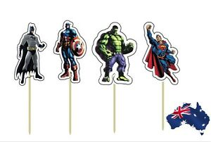 12-x-Avengers-Super-Heroes-CUPCAKE-CAKE-JELLY-CUP-PAPER-TOPPERS-Children-Party