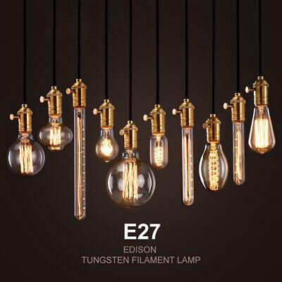 E27 40W T45 Edison Vintage Filamnet Glühbirne Kolben Retro Warmweiß 5 Stück