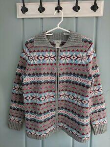 LL-Bean-Womens-Large-Lambs-Wool-Nordic-Fair-Isle-Zip-Cardigan-Sweater-Ski-Chunky
