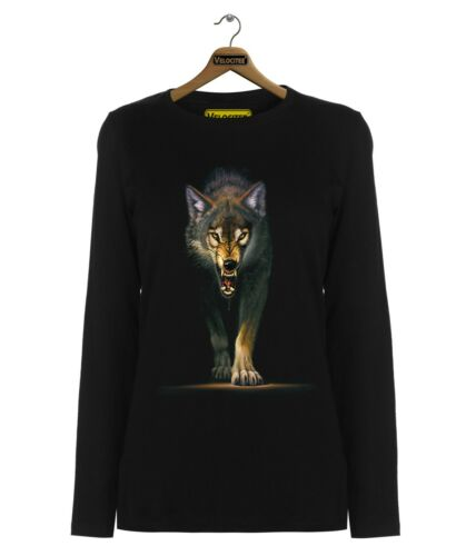 Velocitee Ladies Long Sleeve T-Shirt Stalking Native Timber Wolf A22339