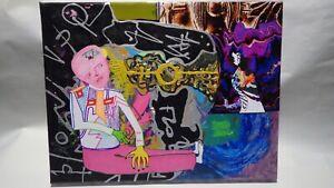 Tableau peinture dessin collage art figuratif libre signé danseur somnambule