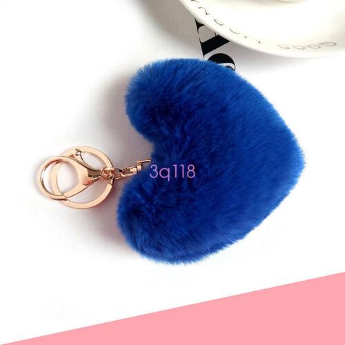 Love Plush Pendant Heart Colorful Keychain Car Bag Accessories Faux Rabbit Fur
