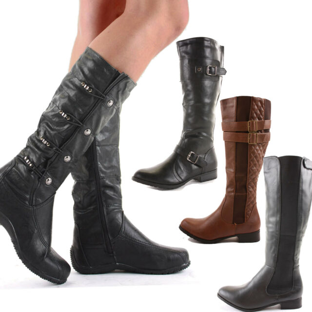 LADIES WOMENS WIDE CALF FIT BLACK FLAT STRETCH KNEE HIGH RIDING BOOTS SIZE 3-8