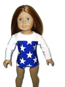 Blue-White-Star-Gymnastics-Leotard-18-034-doll-clothes-fits-American-Girl-Dance