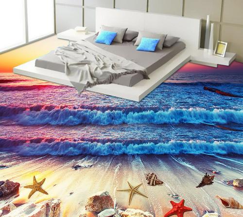 3D Sunset Scenery Beach 45 Floor WallPaper Murals Wall Print Decal AJ WALLPAPER