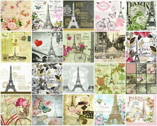 20x Different Table Party Paper Napkins for Decoupage Decopatch Craft Paris Mix