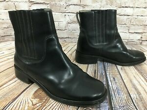LL-BEAN-Black-Leather-Pull-On-Chelsea-Riding-Ankle-Boots-Women-039-s-Size-7-5-WIDE