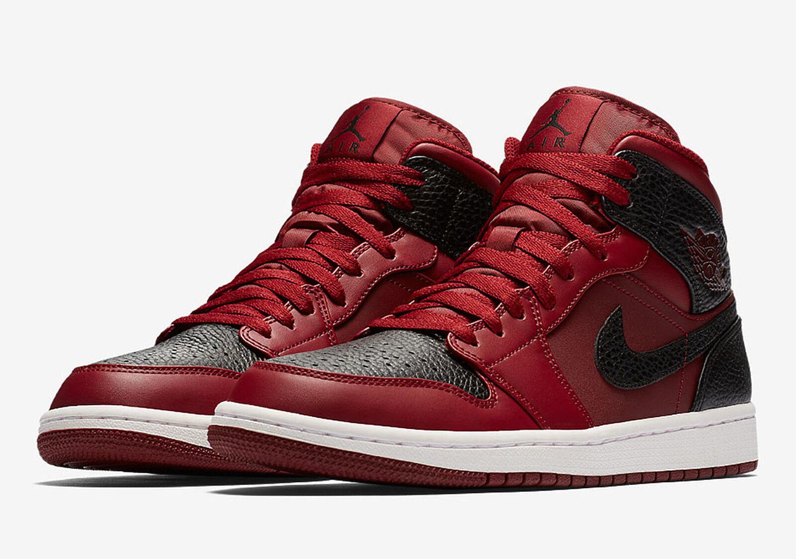 Nike Air Jordan 1 Mid Team rouge/noir Trainers9 BRAND NEW