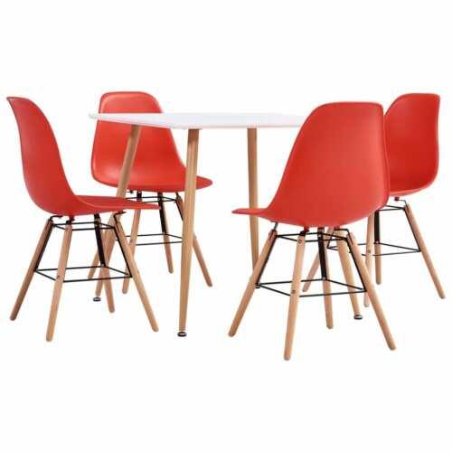 vidaXL Essgruppe 5-tlg Rot Kunststoff Esszimmergarnitur Esstisch 4 Stühle