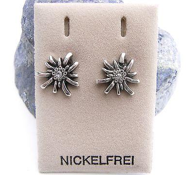 Neu Ohrstecker Edelweiß Swarovsk Steine Kristallklar Trachtenschmuck Ohrringe