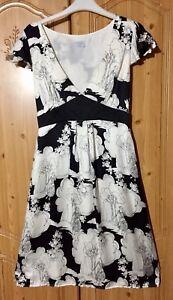 OASIS-100-SILK-Black-amp-Ivory-tea-dress-Size-10-Empire-Line-Art-Deco-WEDDING