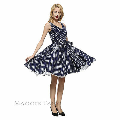 Magic Castl 50s Pinup Retro Rockabilly Polka Dot Vintage Swing Party Dress R-514