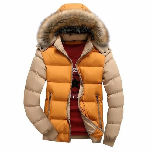 Col Fourrure Veste Coton Homme Hiver Chaud à Capuche Épais Manteau Rembourré