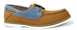 Timberland-9553B-bllffton-2-Eye-Hommes-ble-Bleu-Cuir-Chaussures-Bateau