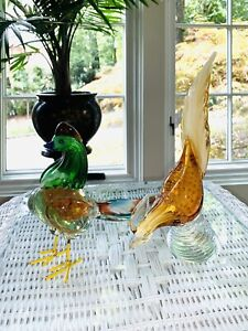 Pair-of-Vintage-Murano-Glass-Pheasants-Amber-Blue-Green-Colored-with-Gold-Flake