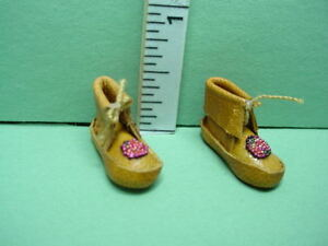 Dollhouse Miniature Beaded Mocassins- Handcrafted from Prestige -1/12th Scale