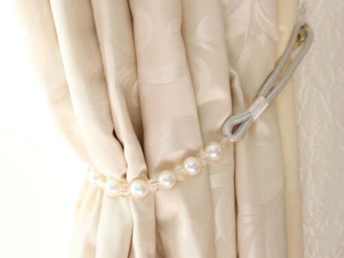 Pair Beaded and  Pearl  Curtains Tie backs Tiebacks Decorative Holdback 78cm #2