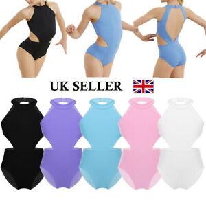 UK Girls Kids Ballet Gymnastics Leotard Sleeveless Bodysuit Mesh Back Dance wear