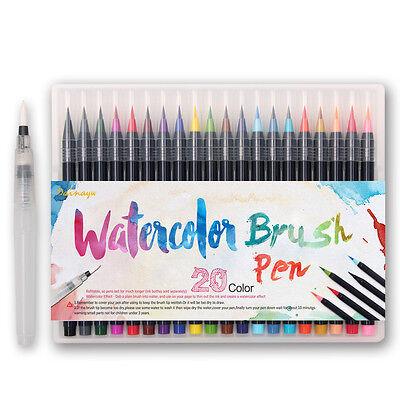 20 Color Premium Painting Soft Brush Pen Set Watercolor Copic Markers Pen