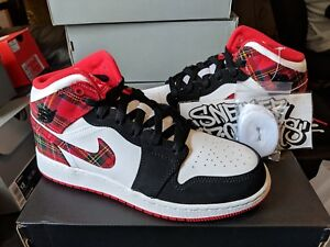 7a94696ef061 Nike Air Jordan Retro I 1 Mid Bad Santa Plaid Red Black White GS ...
