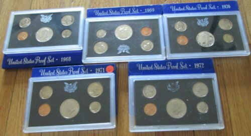 1968 1969 1970 1971 1972 U.S Mint Proof Set  5 Proof Set San Francisco Mint