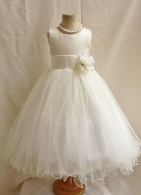 FL IVORY SASH COLOR BRIDESMAID TODDLER WEDDING PARTY PAGEANT FLOWER GIRL DRESS