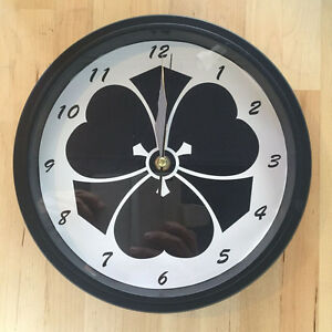 Kamon Japanese Family Crest Kenkatabami 9 - 9.5 inch Wall Clock