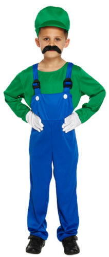 80s Super Mario Luigi Plumber Workman Boy Girl Green Red Video Game Fancy Dress
