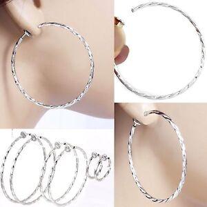 Image Is Loading E121d Pair Clip On Twist Hoop Earrings Look
