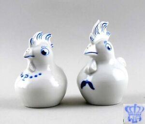 9942020 Porzellan Figur Wagner&Apel Streuer Paar Hühner blau Pit&Put H9cm