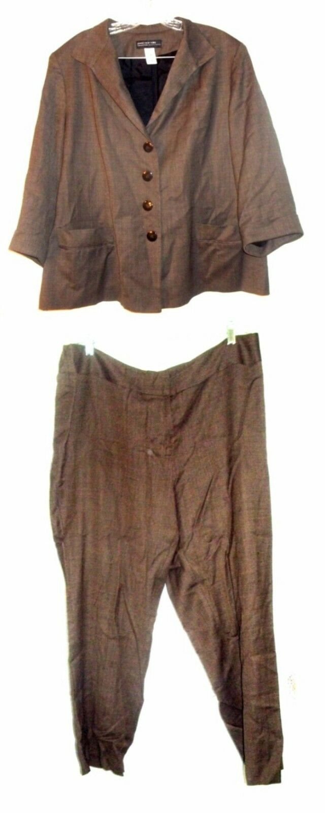Jones NY Brown Top and Pants Suit Set with Tiny Polka Dots Plus Size 18 20WP