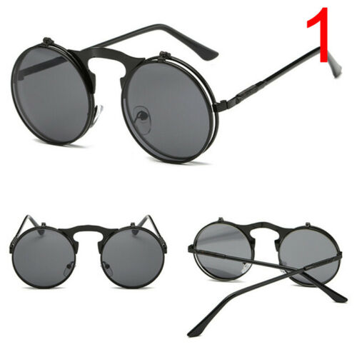 Fashion Retro Vintage Gothic Round Flip Up Sunglasses Steampunk Glasses New S/&K