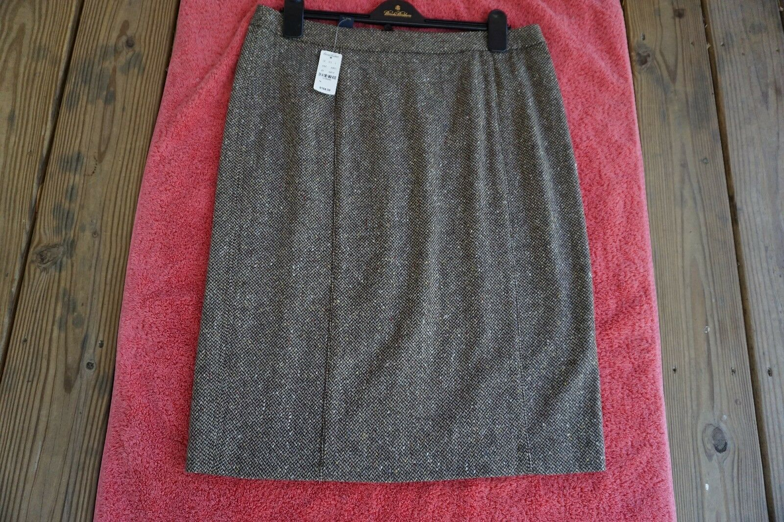 BROOKS BredHERS FLEECE NWT  168 WOVEN IN ITALY WOOL TWEED FULLY LINED SKIRT 14