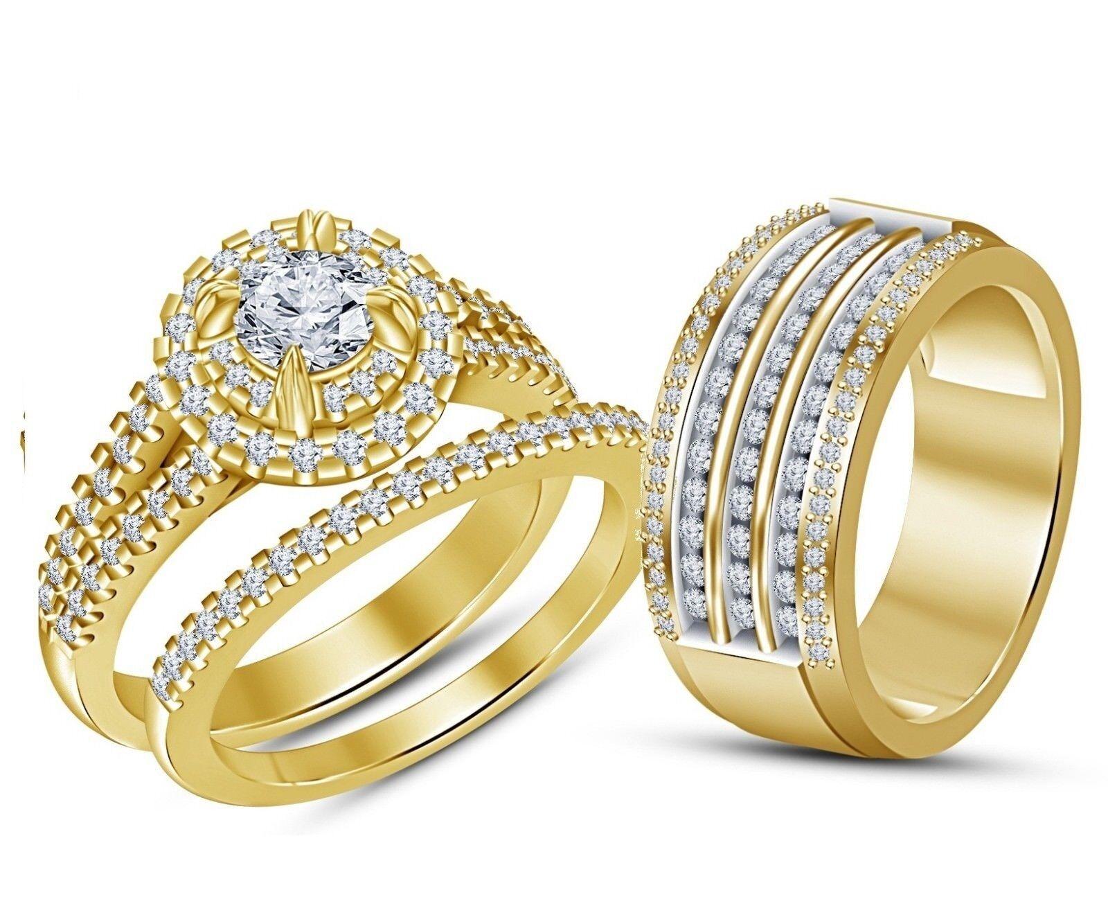 Men's And Women's 14K Yellow gold Over 2 Ct D VVS1 Diamond Wedding Trio Ring Set