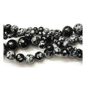 Snowflake-Obsidian-Round-Beads-8mm-Black-White-45-Pcs-Gemstones-DIY-Jewellery