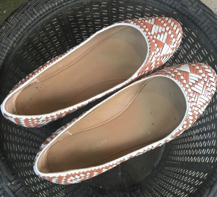 REBECCA MINKOFF CORAL LEATHER Weiß WOVEN LEATHER CORAL BALLET FLATS Schuhe-8.5✨ f0b8f5