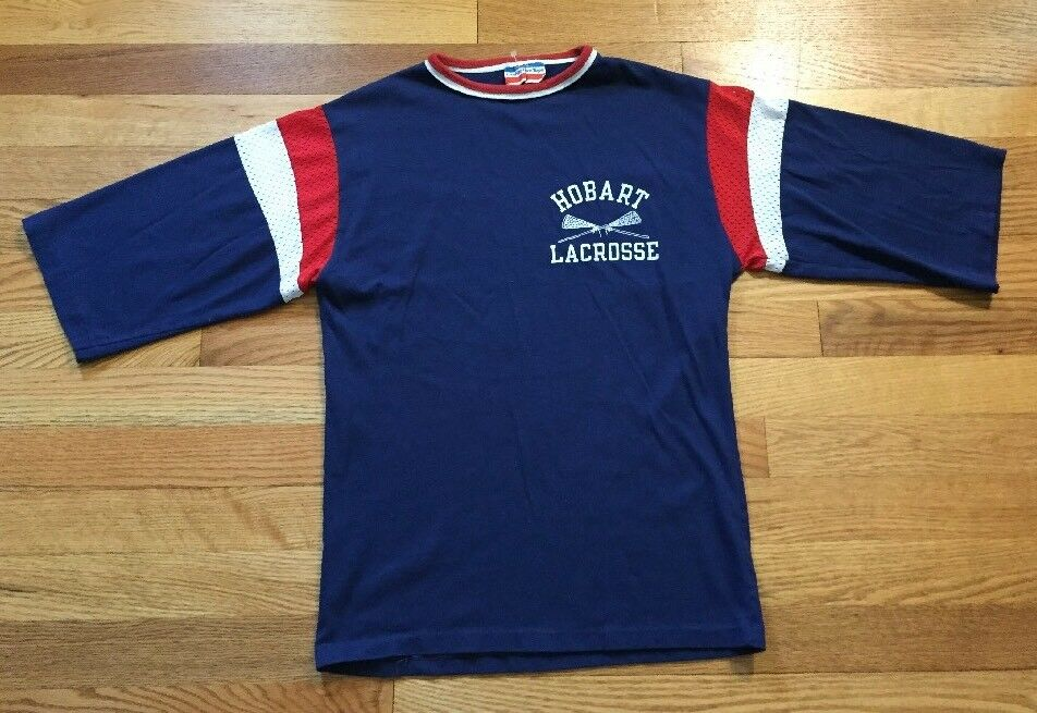 Vintage HOBART LACROSSE Champion Locker Room Tops Jersey T Shirt Größe Small