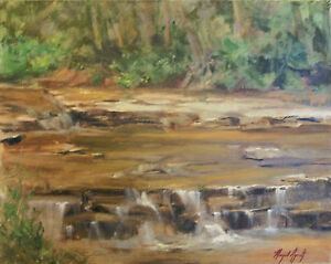 FLINT-CREEK-WATERFALL-Impressionist-landscape-Oklahoma-oil-painting-Aycock