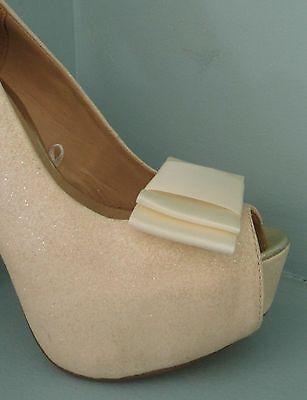2 Clips De Moño doble de Satén Marfil Grandes Para Zapatos-otros colores a petición