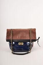 Lanvin Brown/Navy/Black Leather Colorblock Chain Strap Shoulder Bag