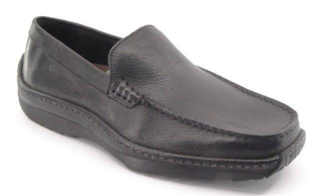 New STRISTLY COMFORT Men Blk Leather Moccasin Comfort Slip On Loafer shoes Sz 9 M