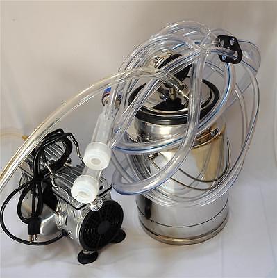 Portable Goat Bucket Milker .5 HP OIL-LESS Piston Vacuum pump SS Bucket Pulsator