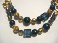 Brighton Contempo Chic Long Necklace Gold & Blue Beads